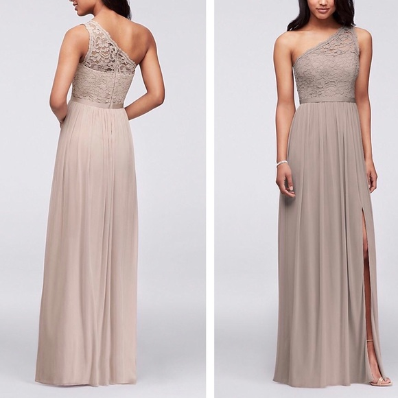 Long One Shoulder Lace Bridesmaid Dress F17063
